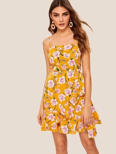 b3959327f1c5 Asymmetrical Ruffle Wrap Flower Print Slip Dress | SHEIN