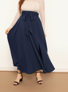 Plus Wide Band Waist Self Belted Maxi Skirt