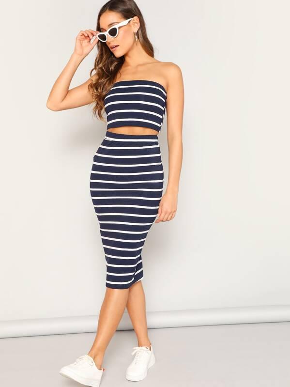 61670236c Conjunto bandeau de rayas horizontales con falda bajo con abertura