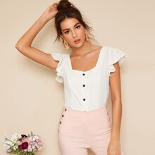 Button Front Ruffle Sleeve Top