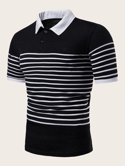 3de76345f5d0cf Men Contrast Collar Striped Polo Shirt