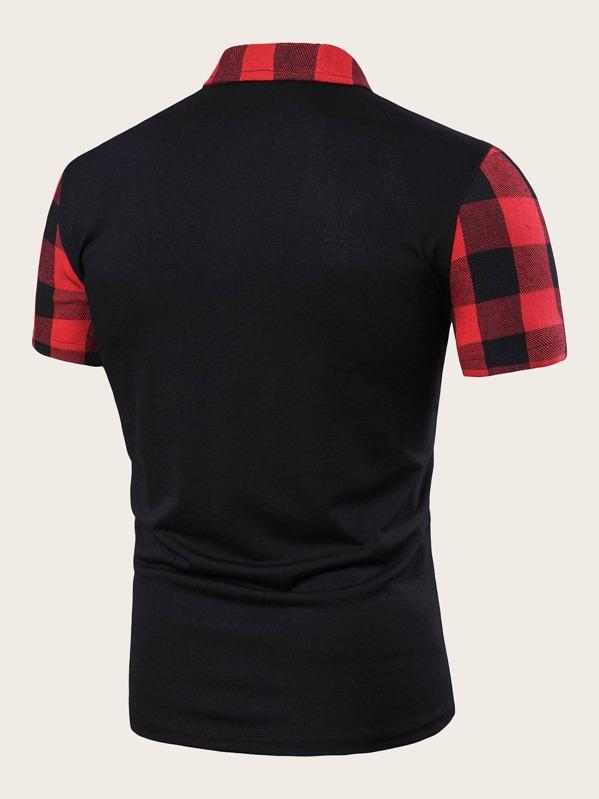 1ccb04cb37 Men Contrast Gingham Zipper Half Placket Polo Shirt | SHEIN