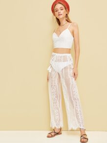 Lace Cami Top With Drawstring Waist Sheer Pants