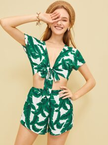 Plants Print Knot Detail Top With Shorts