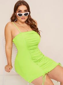 Plus Neon Lime Knot Ruched Cami Dress