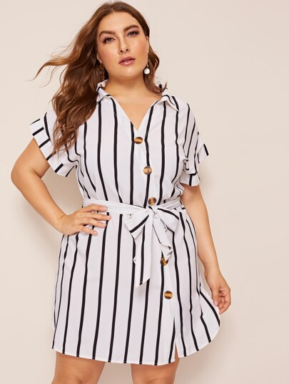 e91db9cd235 Plus Dip Hem Button Belted Shirt Dress