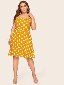Plus Polka Dot Criss Cross Cami Dress