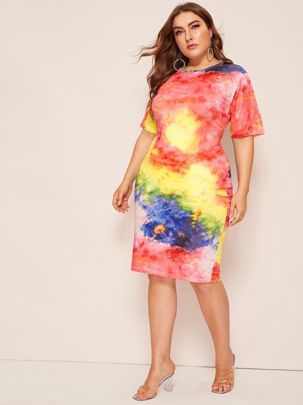 Plus Tie Dye Bodycon Dress