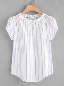 Plus Eyelet Embroidery  Striped Henley Blouse
