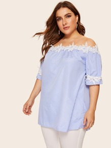 Plus Off-shoulder Appliques Detail Stripe Blouse