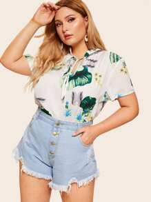 Plus Tropical Print Tie Neck Blouse