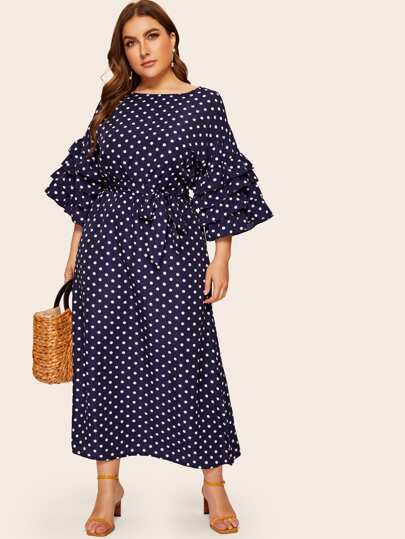 Plus Self Tie Polka Dot Layered Sleeve Dress