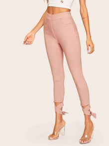 Criss Cross Knot Hem Solid Pants