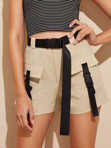 Dual Pocket Tape Panel Belted Shorts