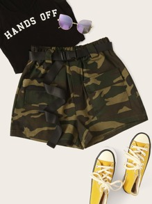 Camo Print Dual Pocket Belted Utility Shorts