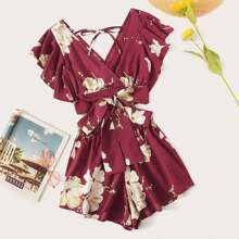 Floral Print Knot Hem Butterfly Sleeve Top With Shorts