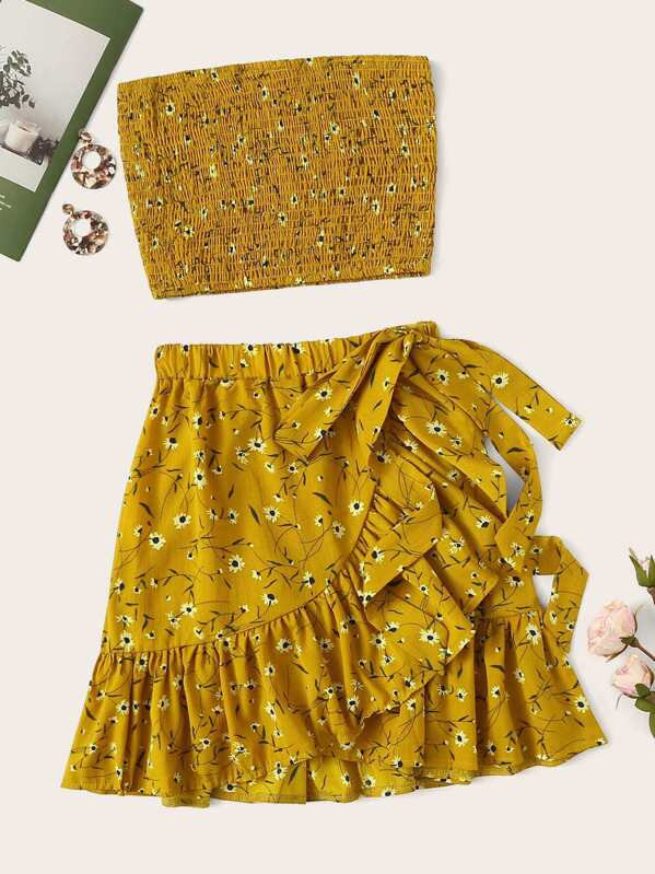 3d572076b3 Ditsy Floral Shirred Tube Top With Knot Side Skirt