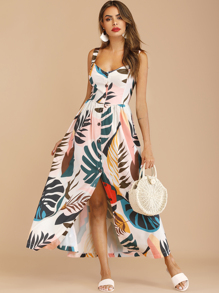 Button Through Tropical Print Maxi Dress