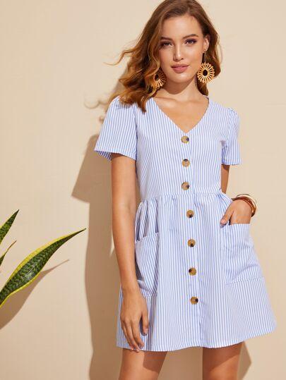 0a183cf9c4 Vertical Striped Button Through Dress