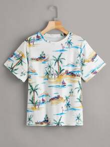 Coconut Tree Print Tee