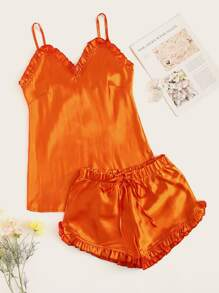 Neon Orange Frill Trim Satin Cami PJ Set