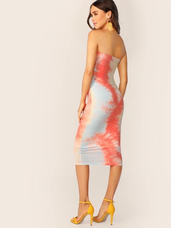 db8c3d461f Strapless Tie Dye Jersey Knit Tube Midi Dress