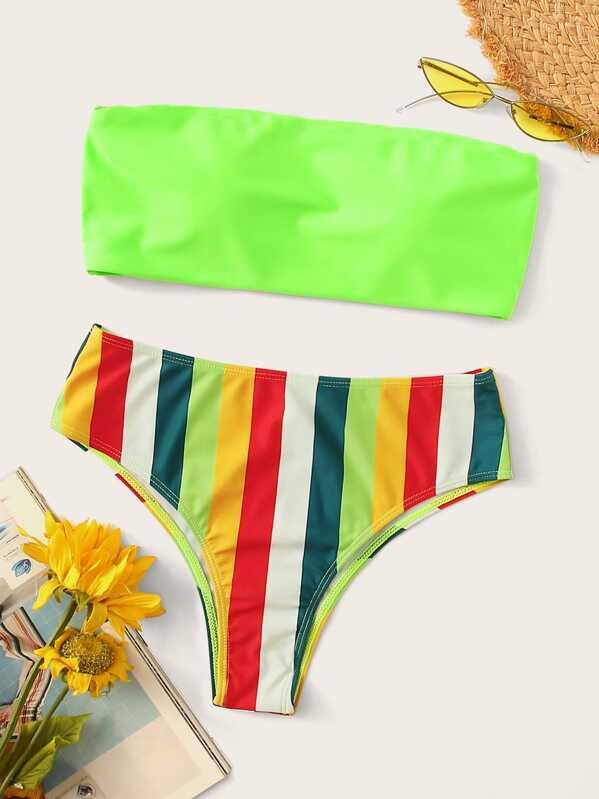 537be57017983 Neon Green Bandeau With Striped Bikini Set   SHEIN