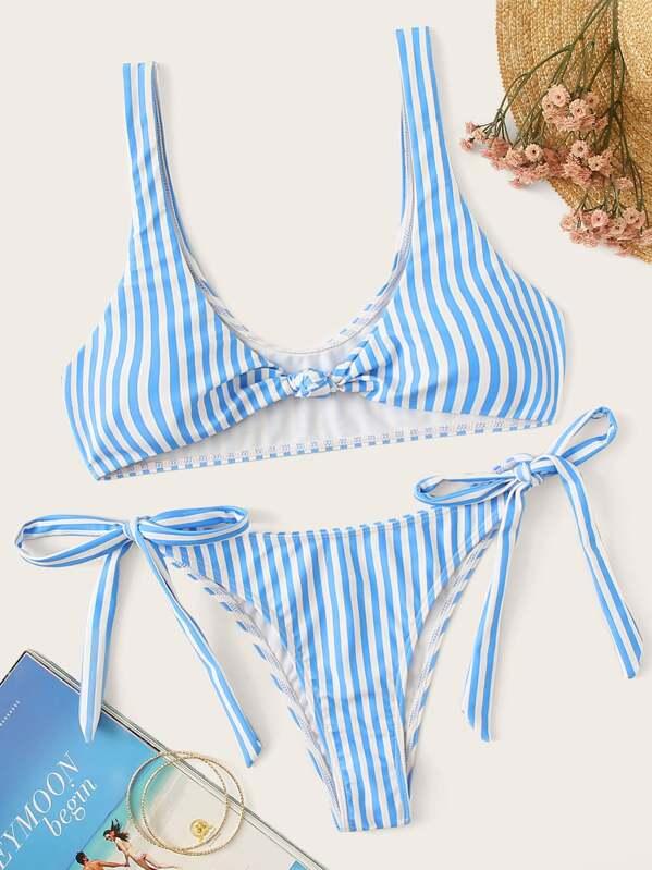 28f0c72a85 Striped Knot Front Top With Tie Side Bikini Set | SHEIN