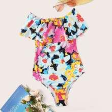 Watercolor Print Ruffle One Piece Swimwear