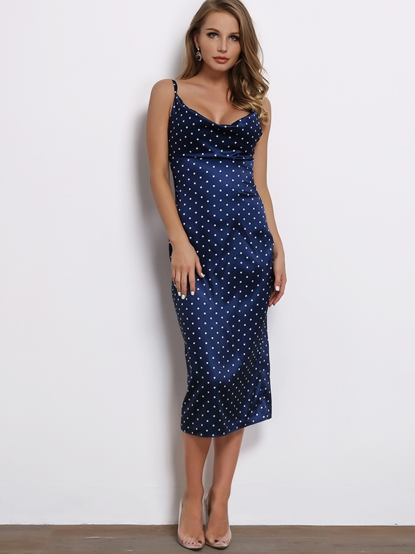 c18a301b4cfc Joyfunear Draped Neck Split Back Satin Slip Dress | SHEIN UK