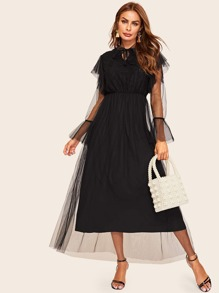 Contrast Mesh High Waist Dress