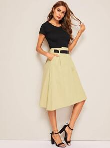 Short Sleeve Tee & Pocket Detail Belted Skirt