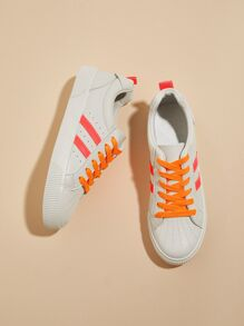 Striped Detail Lace-up Front Sneakers