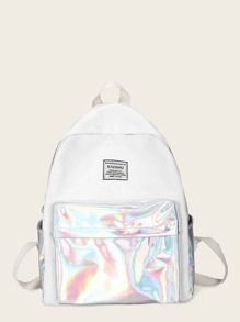 Random Color Lining Iridescence Panel Backack