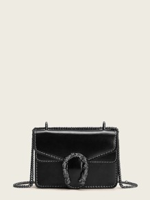 Metal Detail Chain Strap Crossbody Bag