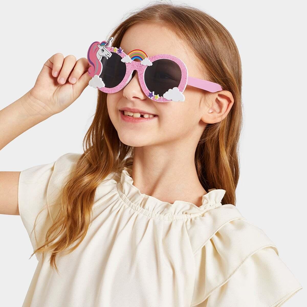 Солнцезащитные очки с украшением мультяшных животных для девочек