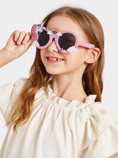 822d08e9f بنات كارتون الحيوان مزين النظارات الشمسية | شي إن