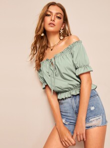 Frill Trim Off Shoulder Tie Neck Top