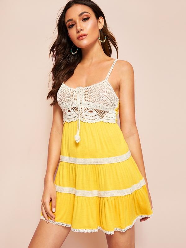 5591be88f773 Knot Crochet Bodice Shirred Lace Trim Cami Dress | SHEIN