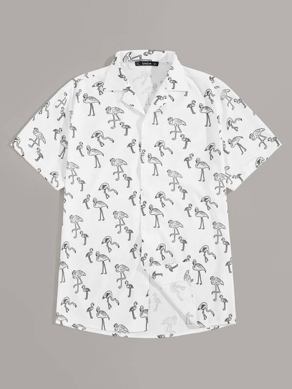 379d995367 Men Allover Flamingo Print Revere Collar Shirt
