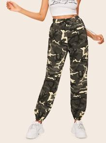 e71c249e68ece Chain Detail Camo Cargo Pants | SHEIN