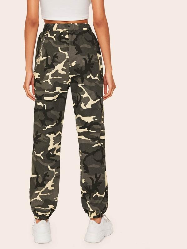 0a18076a6a7c5 Chain Detail Camo Cuff Trousers | SHEIN UK