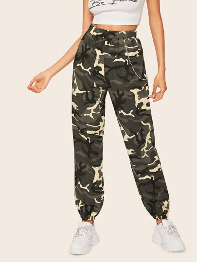 Chain Detail Camo Lantern Pants