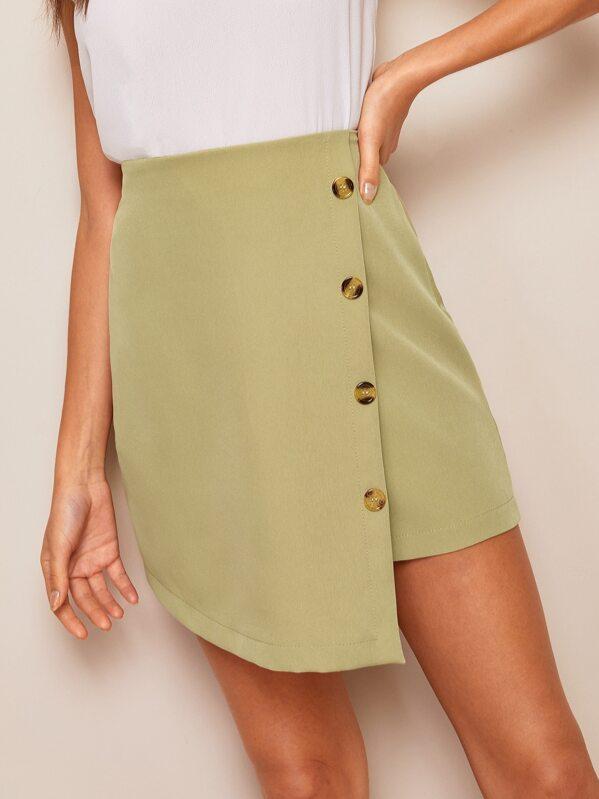 6b0c1c5e36d Button Front Wrap Asymmetrical Skirt   SHEIN UK