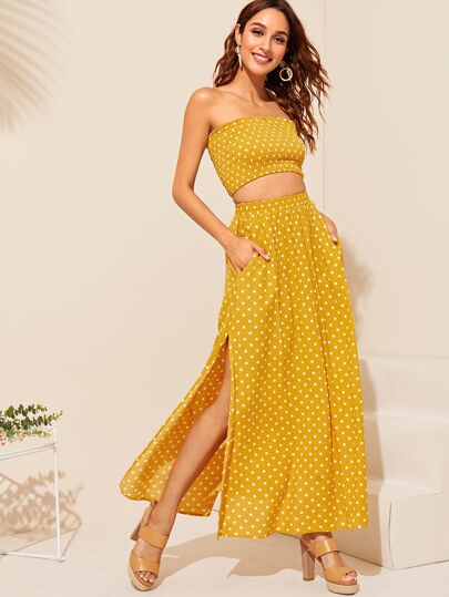 8a7aa0dd718 Shirred Tube Top   Slit Polka Dot Skirt Set