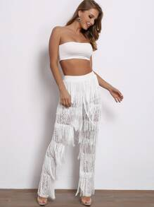Joyfunear Bandeau Top and Fringe Guipure Lace Pants Set
