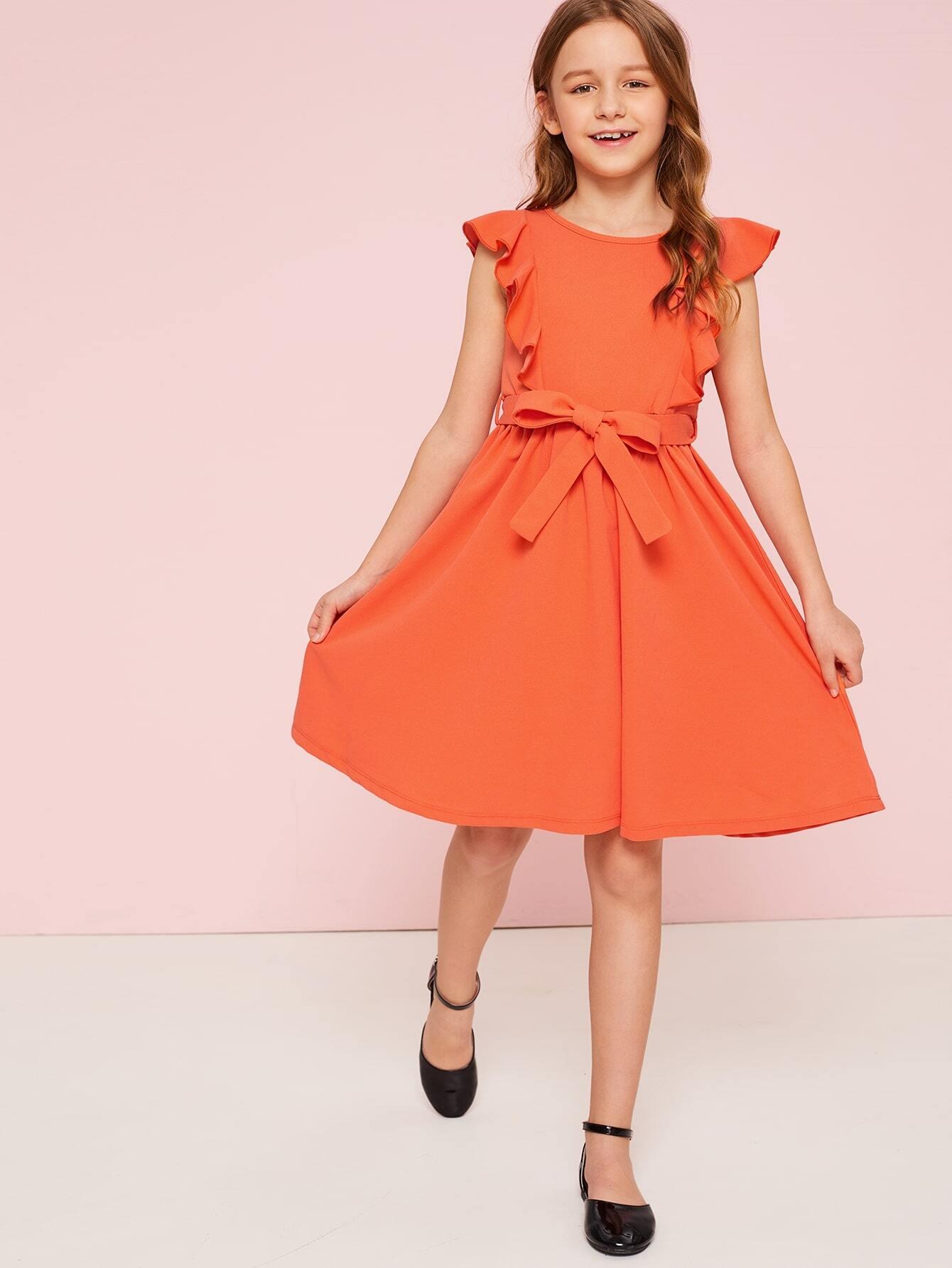 Mädchen Neon Orange Kleid mit Raffung und Gürtel   SHEIN