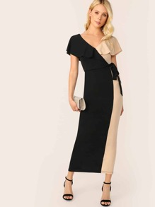 Two Tone Cape Sleeve Knotted Wrap Front Dress