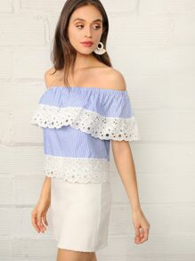 Schiffy Trim Flounce Off Shoulder Striped Top