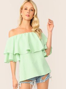 Off Shoulder Ruffle Trim Striped Top
